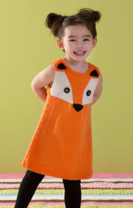 Red Heart ANNE GEDDES Childs Foxy Tunic Dress Knitting Pattern FREE