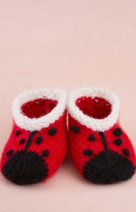 Red Heart Anne Geddes Ladybug Baby Booties Knitting Pattern Free