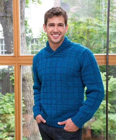Red Heart Detroit Shawl Collar Mens Sweater Knitting Pattern Free