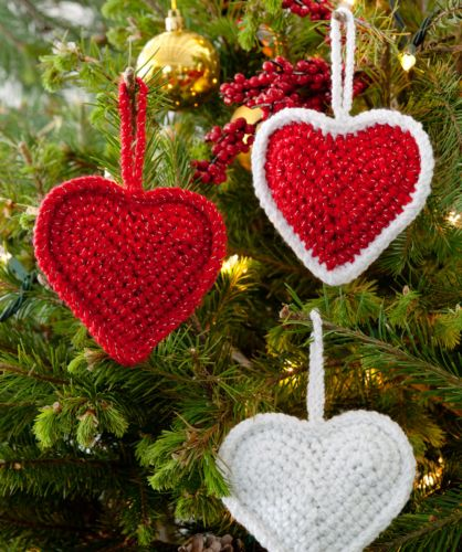 Red Heart HOLIDAY Christmas Love Hearts Crochet Pattern FREE