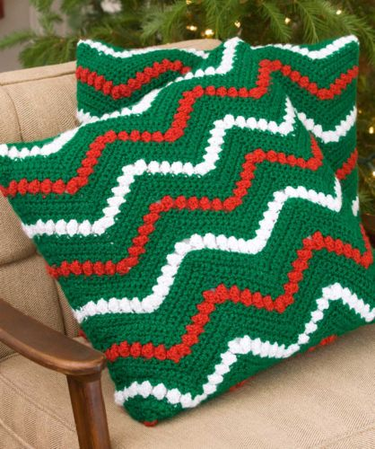 Red Heart HOLIDAY Christmas Ripple Pillows Crochet Pattern FREE