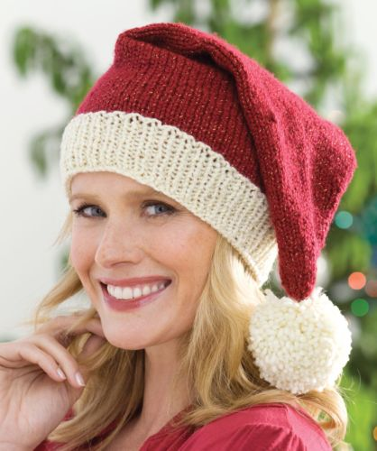 Red Heart HOLIDAY Knit Santa Hat Knitting Pattern FREE
