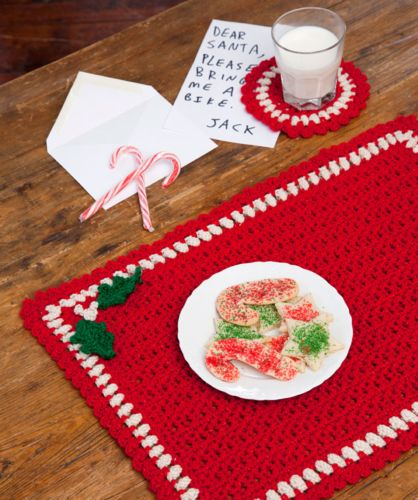 Red Heart HOLIDAY Placemat Set Crochet Pattern FREE