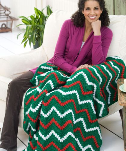 Red Heart HOLIDAY Tis the Season Throw Crochet Pattern FREE