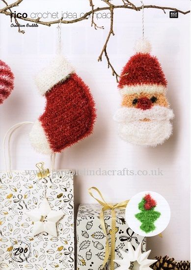 Rico Bubble Father Christmas Stocking Holly Crochet Pattern 700