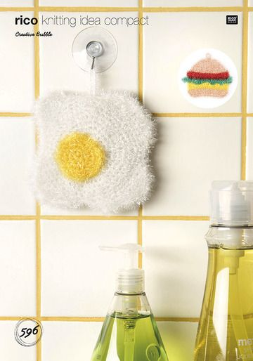 Rico Bubble Fried Egg and Burger Scrubby Crochet Pattern 596