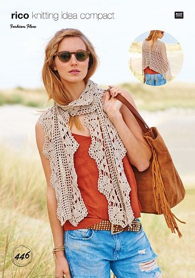 Rico Fashion Flow Scarf and Poncho Crochet Pattern 446