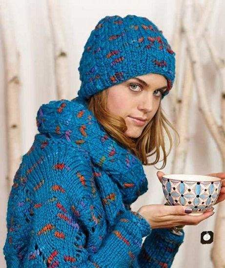 Schachenmayr LOVA Hat and Scarf FREE Knitting Pattern
