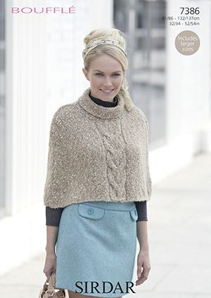 Sirdar Bouffle Cape Knitting Pattern 7386 REDUCED £1