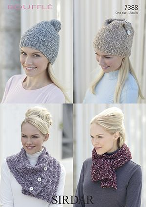 Sirdar Bouffle Sarves and Hats Knitting Pattern 7388 REDUCED £1
