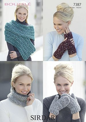 Sirdar Bouffle Wrap Wrist Warmers Snood Mittens Knitting Pattern 7387 REDUCED £1