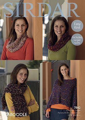Sirdar CABOODLE Poncho Snood Scarf Knitting Pattern 7842 REDUCED £1