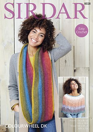Sirdar Colourwheel Poncho and Snood Crochet Pattern 8028
