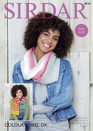 Sirdar Colourwheel Twisted Snood and Scarf Knitting Pattern 8034