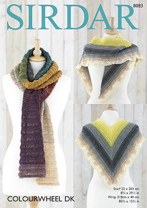 Sirdar Colourwheel Wrap and Scarf Knitting Pattern 8083