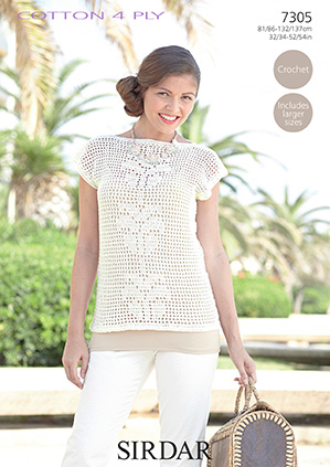 Sirdar Cotton 4 Ply Top Crochet Pattern 7305