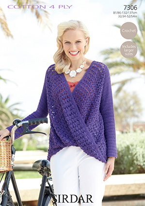 Sirdar Cotton 4 Ply Wrap Top Crochet Pattern 7306