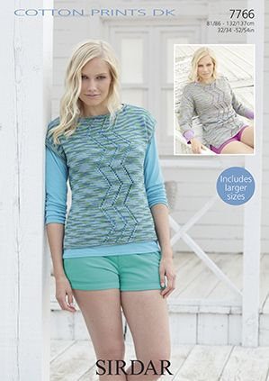 Sirdar Cotton Prints DK Sweater Tops Knitting Pattern 7766 REDUCED £1
