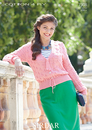 Sirdar Cottton 4 Ply Cardigan Knitting Pattern 7308
