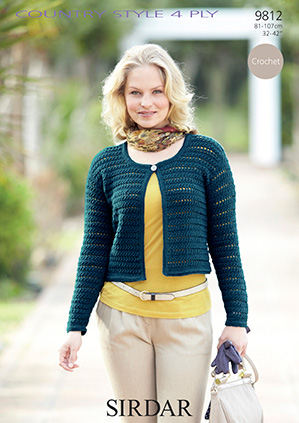 Sirdar Country Style 4 Ply Cardigan Crochet Pattern 9812