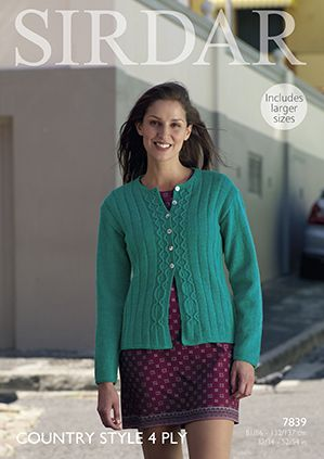 Sirdar Country Style 4 ply Cardigan Knitting Pattern 7839