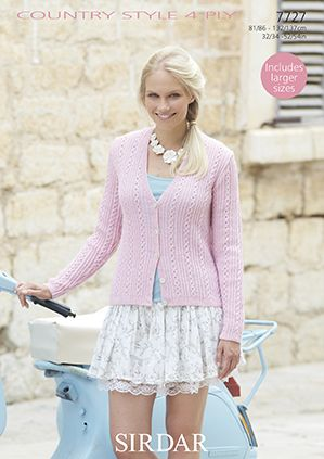 Sirdar Country Style 4 ply LS Cardigan Knitting Pattern 7727