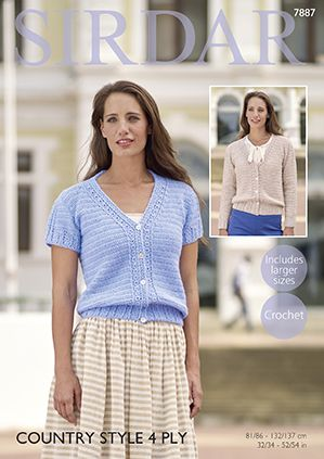 Sirdar Country Style 4 Ply Summer Cardigans Crochet Pattern 7887