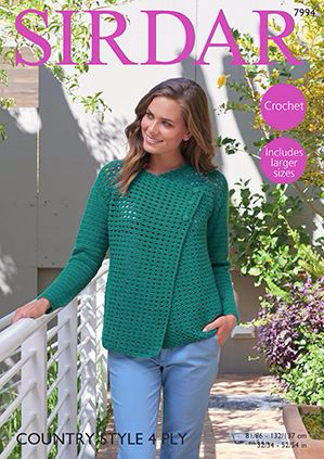 Sirdar Country Style 4Ply Jacket Crochet Pattern 7994