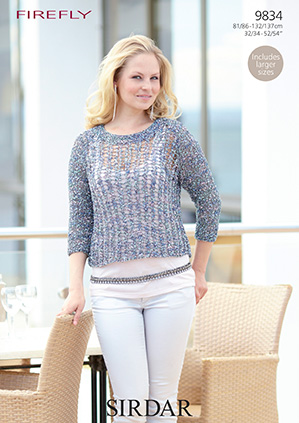Sirdar Firefly Top Free Knitting Pattern 9834 Discontinued
