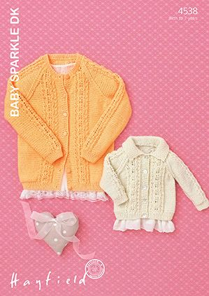 Sirdar Hayfield Baby Sparkle DK Cable Cardigans Knitting Pattern 4538