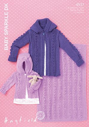 Sirdar Hayfield Baby Sparkle DK Hooded Jackets and Blanket Knitting Pattern 4537