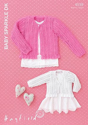 Sirdar Hayfield Baby Sparkle DK Lacy Cardigans Knitting Pattern 4539