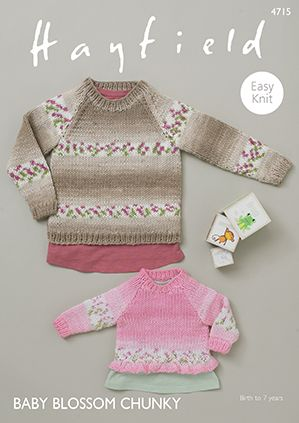 Sirdar Hayfield BLOSSOM Baby Sweaters Knitting Pattern 4715