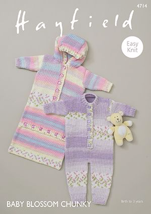 Sirdar Hayfield BLOSSOM Onesie and Sleeping Bag Baby Knitting Pattern 4714