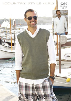 Sirdar Mens 4ply Tank Top And Sweater Knitting Pattern 9280