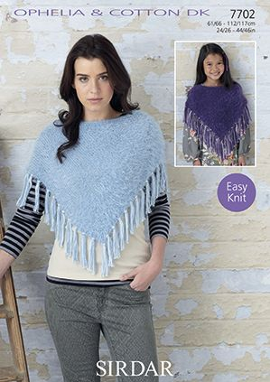Sirdar Ophelia Cotton Ponchos Knitting Pattern 7702 REDUCED £1