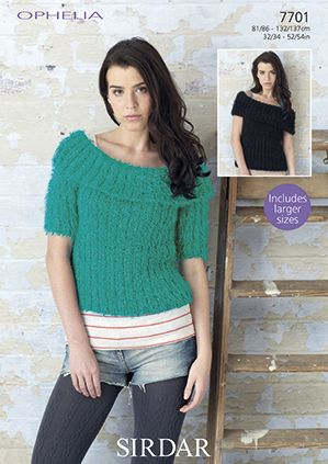 Sirdar Ophelia Fur Tops Knitting Pattern 7701 REDUCED £1