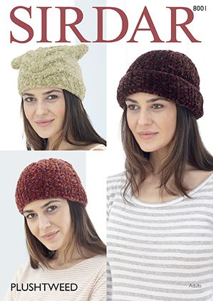 Sirdar Plushtweed Hats Knitting Pattern 8001 REDUCED £1
