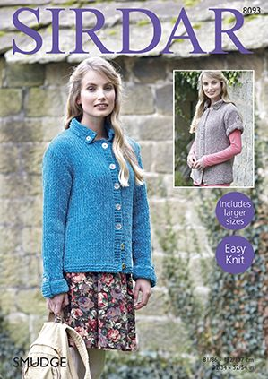 Sirdar SMUDGE Cardigans Knitting Pattern 8093