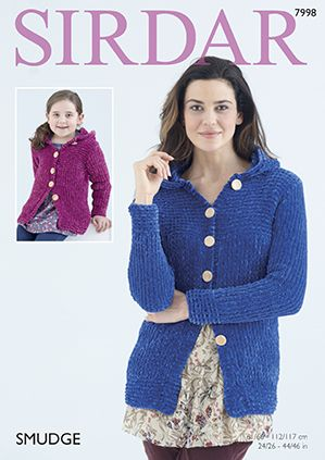 Sirdar SMUDGE Hooded Jacket Knitting Pattern 7998