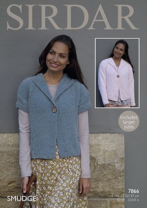 Sirdar SMUDGE Jacket Knitting Pattern 7866