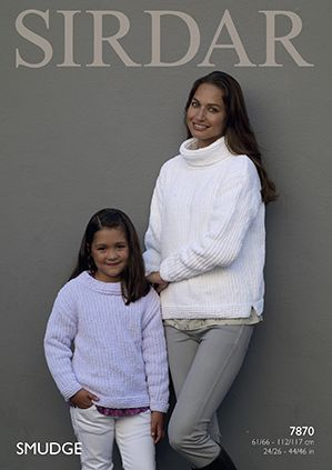 Sirdar SMUDGE Sweaters Knitting Pattern 7870