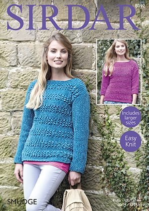 Sirdar SMUDGE Sweaters Knitting Pattern 8092