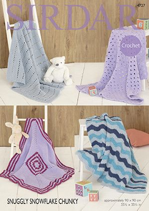 Sirdar Snowflake Chunky Baby Blankets Crochet Pattern 4727