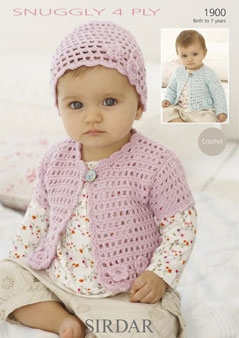 Sirdar Snuggly 4ply Cardigans Hat Baby Crochet Pattern 1900 £1