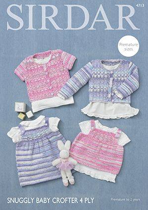 Sirdar Snuggly Baby Crofter 4 Ply Cardigans Dress Top Knitting Pattern 4713