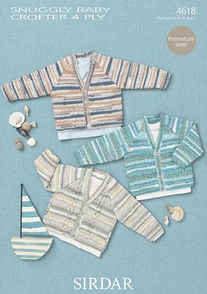 Sirdar Snuggly Baby Crofter 4 Ply Cardigans Knitting Pattern 4618