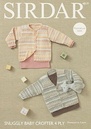 Sirdar Snuggly Baby Crofter 4 Ply Cardigans Knitting Pattern 4819
