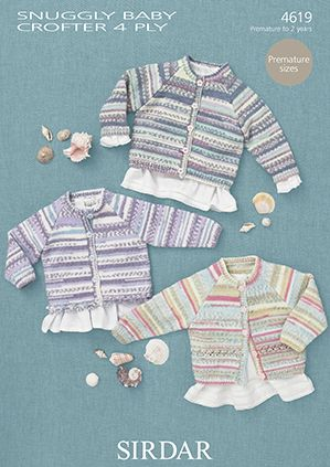 Sirdar Snuggly Baby Crofter 4 Ply GIRLS Cardigans Knitting Pattern 4619