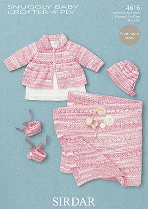 Sirdar Snuggly Baby Crofter 4 Ply GIRLS Coat Hat Bootees Blanket Knitting Pattern 4616
